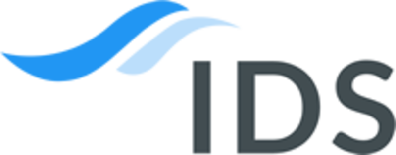 Impact Data Solutions logo - the letters 'IDS' in very dark grey with two blue swooshes to the top left of the 'I'
