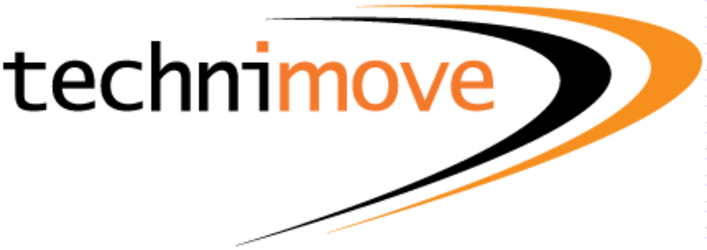 Technimove logo - the word 'technimove' written in a monospace font - the 'techni' part in black and the 'move' part in orange. To the right are two large swooshes - one black, one orange