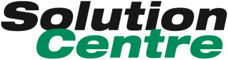 Solution Centre logo - the word 'solution' in a heavy black font followed by the word 'Centre' in a heavy green font below it
