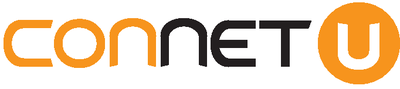 ConnetU Ltd logo - the word 'connect'; the first three letters of which are orange, and the latter three black - followed by a white 'u' in an orange circle