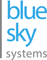 Blue Sky Systems logo - the words 'blue sky' stacked in blue, and the word 'systems' in grey below, with a gray bar to the left of the entire stack