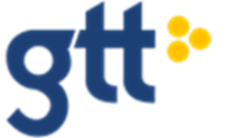 GTT logo in blue with yellow