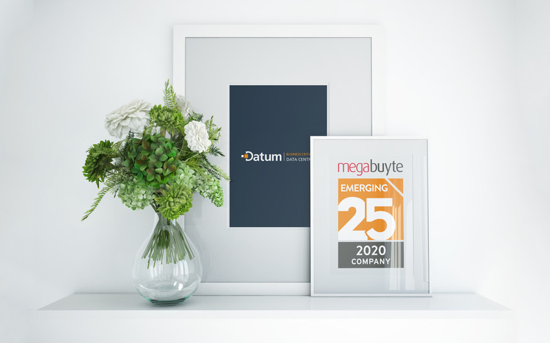 """Megabutye Emerging 25 2020"" Award in a photo frame"