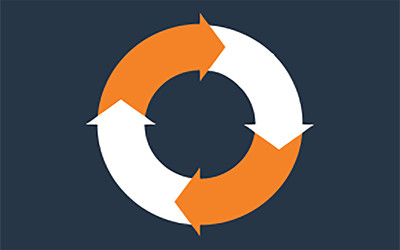 Lifecycle services icon (white and orange arrows forming a circle)