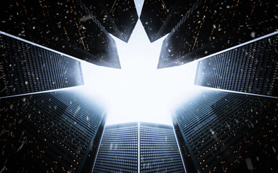 An artistic composite - a worm's eye view of skyscrapers which for at the top to make a maple leaf