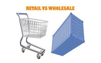Retail vs wholesale graphic showing a trolley next to shipping container