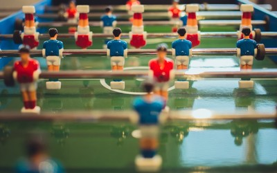 A close up of a football table