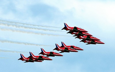 Red arrows at Farnborough air show